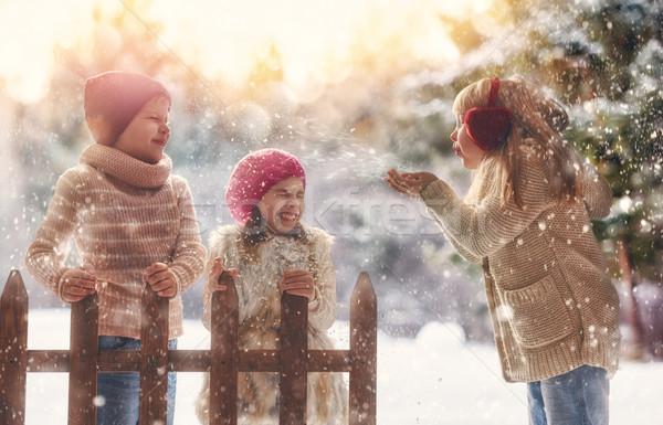 girls and boy playing on a winter walk Stock photo © choreograph