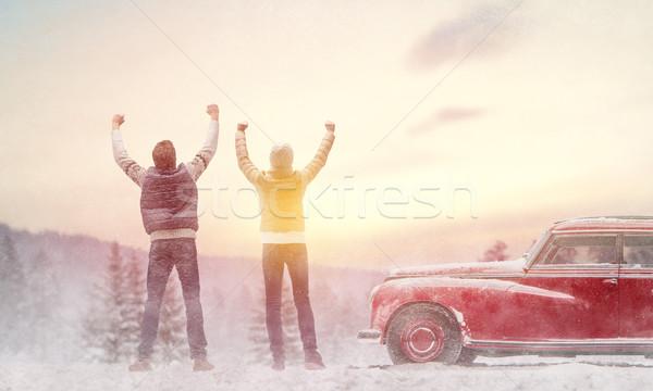 woman, man and vintage car Stock photo © choreograph