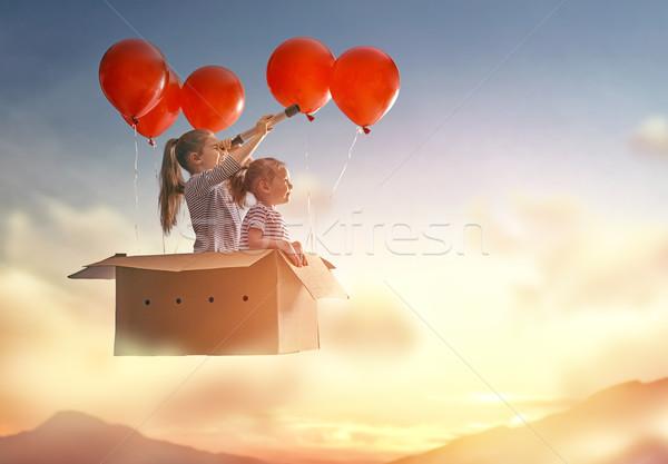 Мечты путешествия два детей Flying Сток-фото © choreograph