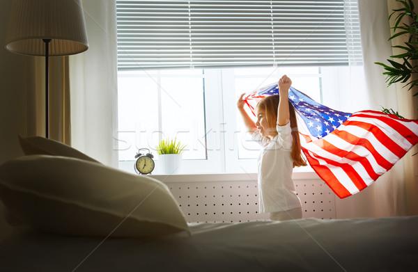 Zászló Amerika gyermek boldog otthon gyerek Stock fotó © choreograph