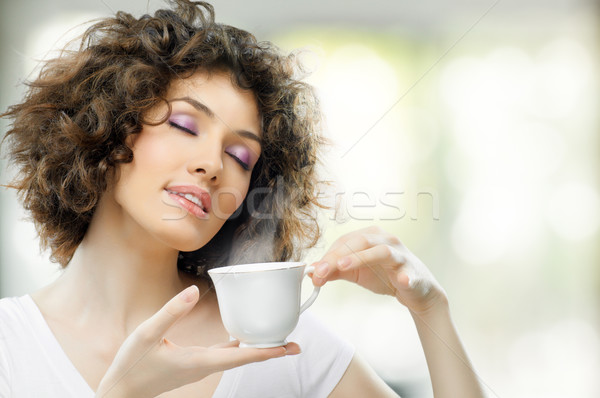 Aromático café mujer manos mujeres beber Foto stock © choreograph
