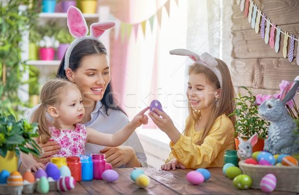 Foto stock: Familia · Pascua · feliz · vacaciones · madre · pintura