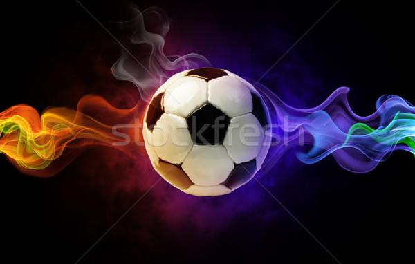 Szimbólum fényes fekete tűz futball sport Stock fotó © choreograph