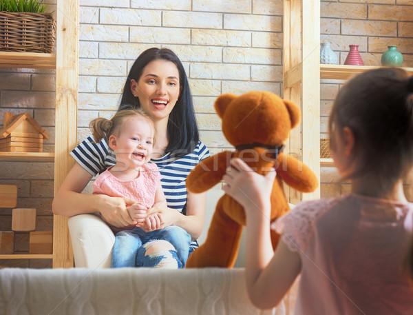 Wydajność lalek teatr szczęśliwy kochający rodziny Zdjęcia stock © choreograph
