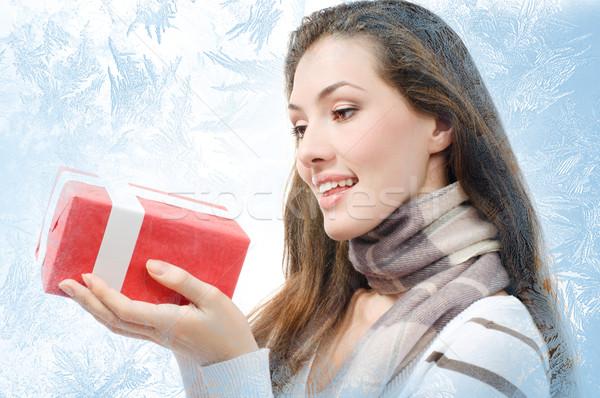 Präsentiert Mädchen weiß Hand Frauen Winter Stock foto © choreograph