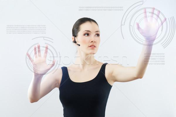 Innovatieve geslaagd persoon gezicht Stockfoto © choreograph