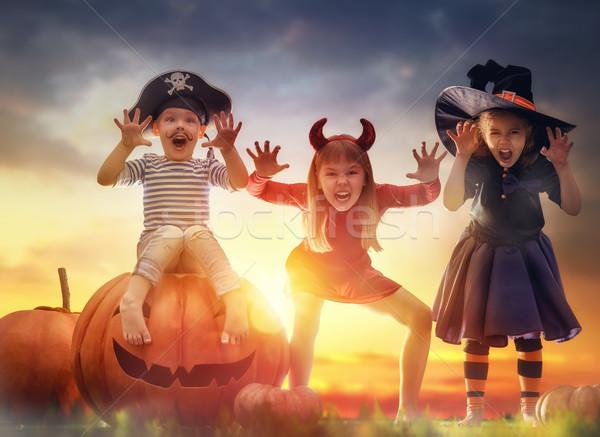 Crianças halloween feliz irmão dois irmãs Foto stock © choreograph
