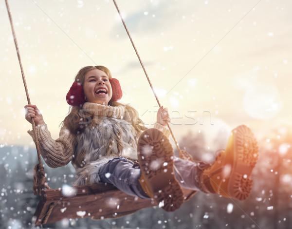 девушки Swing закат зима счастливым ребенка Сток-фото © choreograph