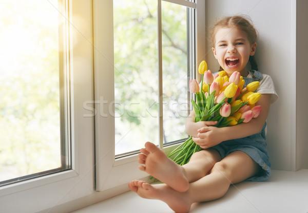 girl sitting on the window  Stock photo © choreograph