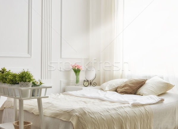 Stock photo: bedroom in soft light colors