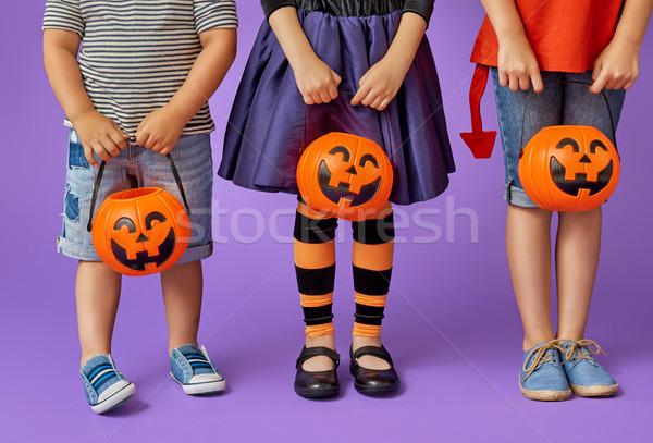 Gyerekek halloween boldog fivér kettő nővérek Stock fotó © choreograph
