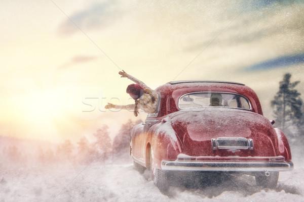 Zdjęcia stock: Rodziny · drogowego · podróży · przygoda · szczęśliwą · rodzinę