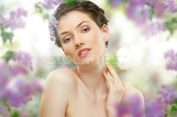 девушки сирень красивая девушка цветок улыбка лице Сток-фото © choreograph
