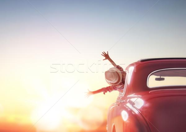 girl rides into the sunset Stock photo © choreograph