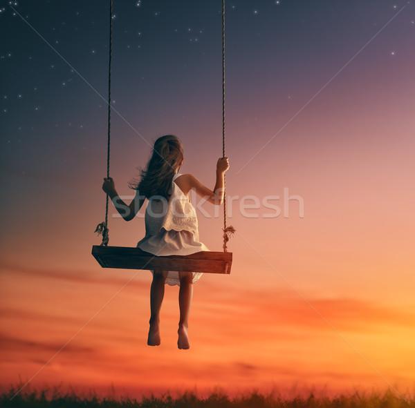 子 少女 スイング 幸せ 日没 夏 ストックフォト © choreograph