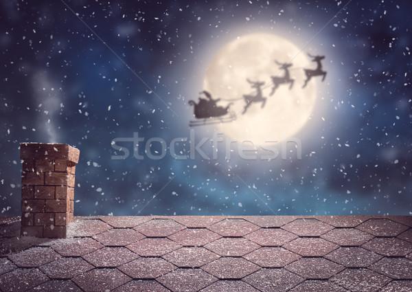 Mikulás repülés szánkó vidám karácsony boldog Stock fotó © choreograph