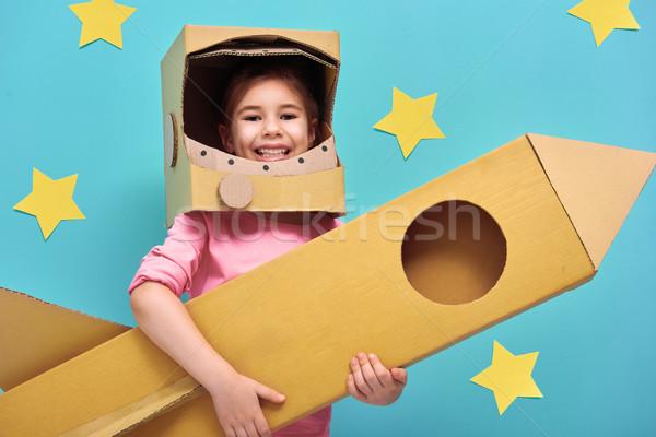 Stock fotó: Lány · űrhajós · jelmez · gyermek · játék · rakéta