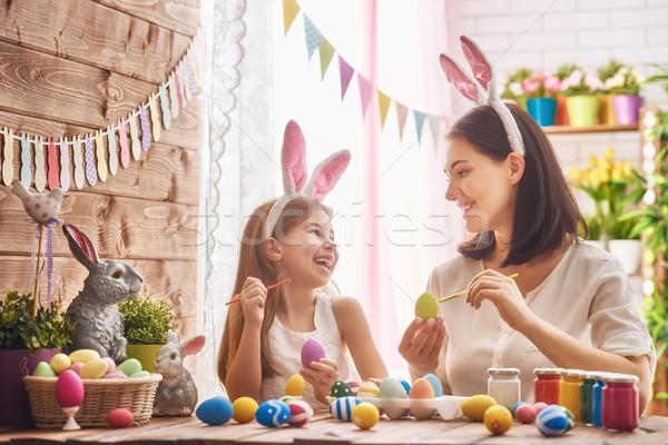 家族 イースター 母親 娘 絵画 卵 ストックフォト © choreograph
