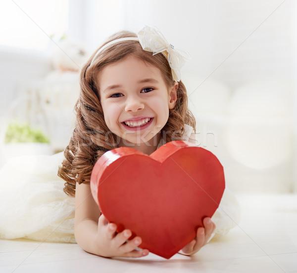 Lány piros szív boldog valentin nap édes Stock fotó © choreograph