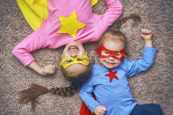 Dzieci gry superhero mały dzieci piętrze Zdjęcia stock © choreograph