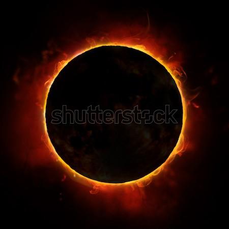Sol eclipse negro fondo espacio noche Foto stock © choreograph