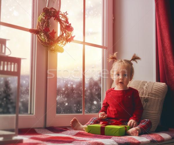 Oturma pencere neşeli Noel mutlu Stok fotoğraf © choreograph