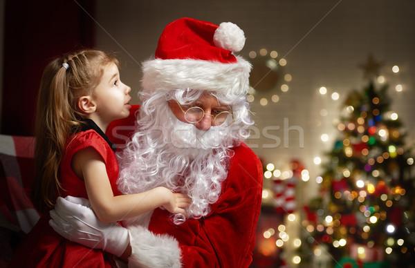 Stockfoto: Kerstman · luisteren · wensen · huis