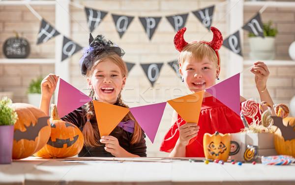 çocuklar halloween sevimli küçük çocuklar kızlar Stok fotoğraf © choreograph