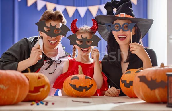 Stock fotó: Család · halloween · anya · apa · lánygyermek · szórakozás