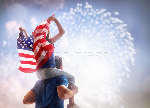 People holding the Flag of the USA. Stock photo © choreograph