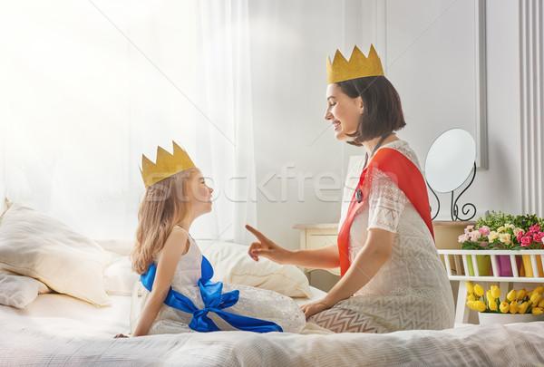Kraliçe prenses altın mutlu seven aile Stok fotoğraf © choreograph