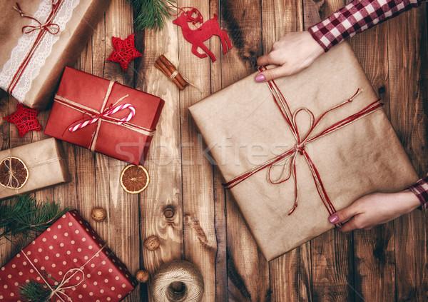 Noel aile gelenekler neşeli mutlu tatil Stok fotoğraf © choreograph