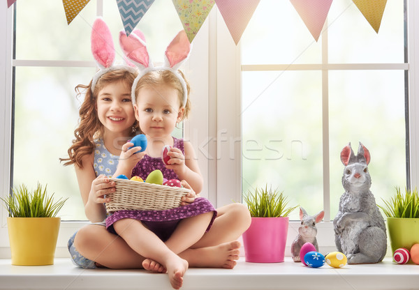 Stock photo: children are wearing bunny ears