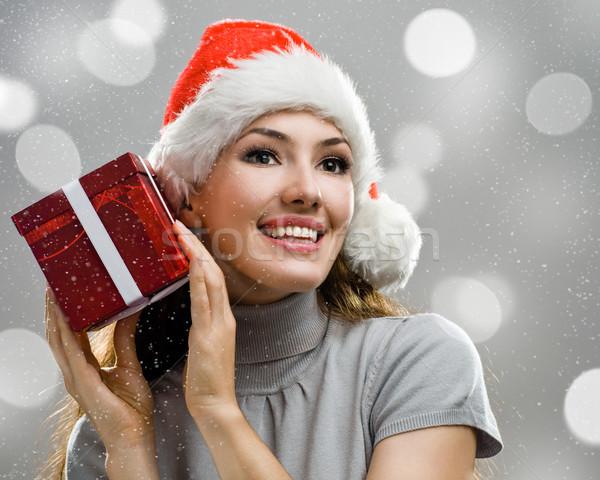 Noël présente jeune fille présents mains femme Photo stock © choreograph