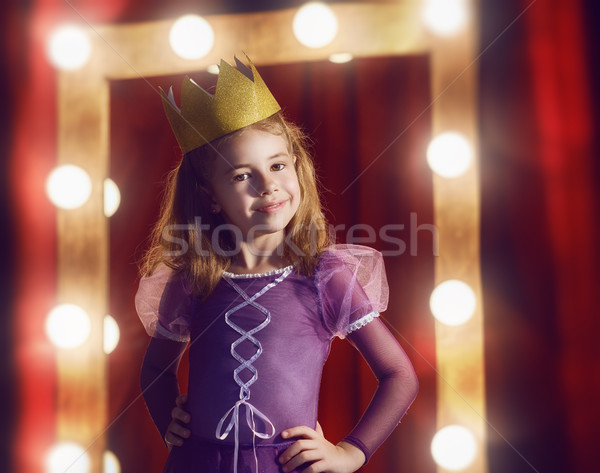 Cute weinig actrice kind meisje prinses Stockfoto © choreograph