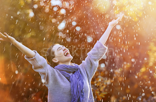 Donna autunno doccia felice bella Foto d'archivio © choreograph