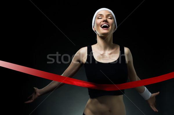 ストックフォト: 勝利 · 選手 · 女性 · スポーツ · フィットネス · を実行して