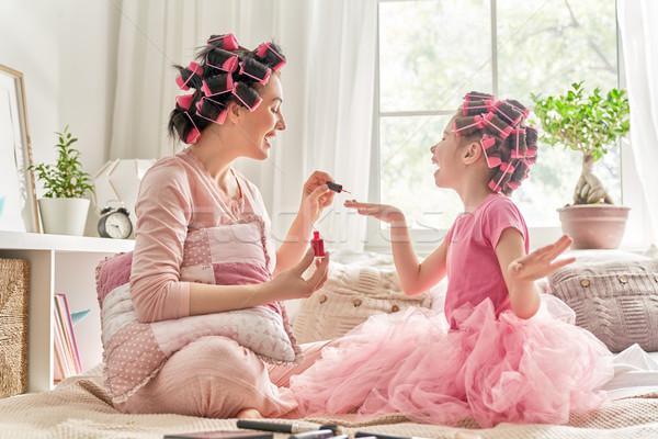 Madre figlia felice amorevole famiglia capelli Foto d'archivio © choreograph