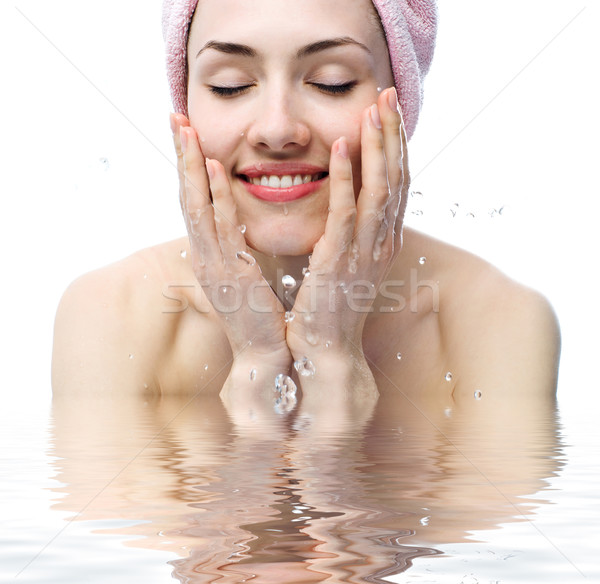 Stock photo: girl is washing