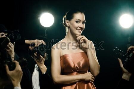 Sötétség gyönyörű higgadt lány épület nők Stock fotó © choreograph