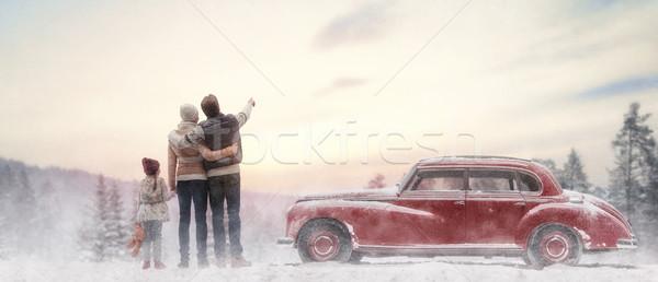 family enjoying road trip Stock photo © choreograph