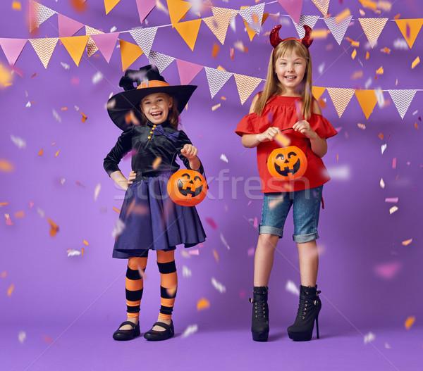 Copii halloween doua fericit surorile amuzant Imagine de stoc © choreograph