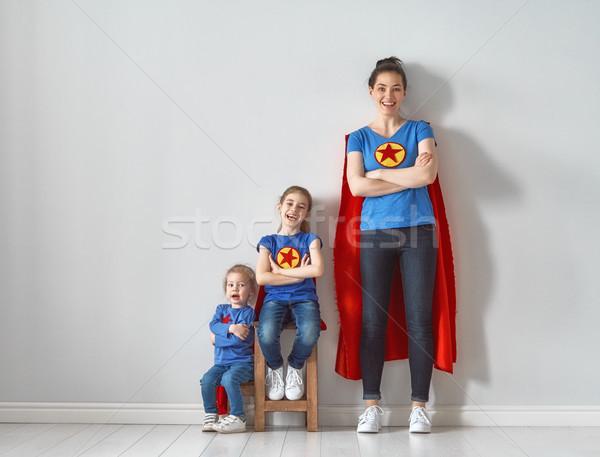 Rodziny superhero kostiumy matka dzieci gry Zdjęcia stock © choreograph