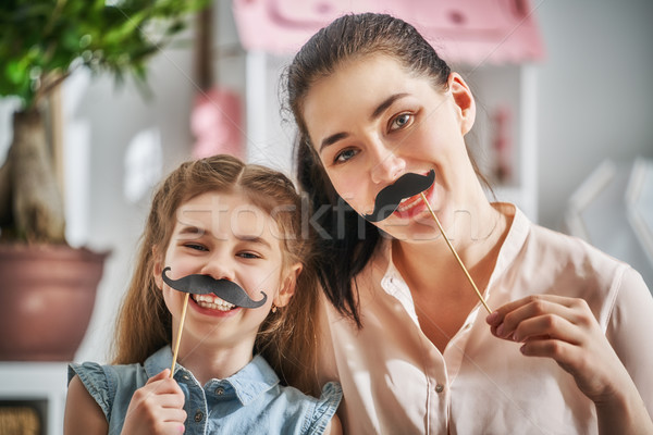 Foto stock: Madre · hija · jugando · funny · tiempo · mamá