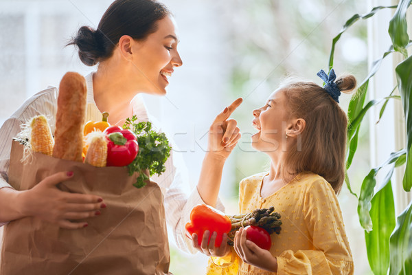 Mother and daughter holding shopping bag Stock photo © choreograph