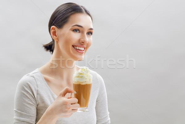 Aromás kávé nő kezek arc modell Stock fotó © choreograph