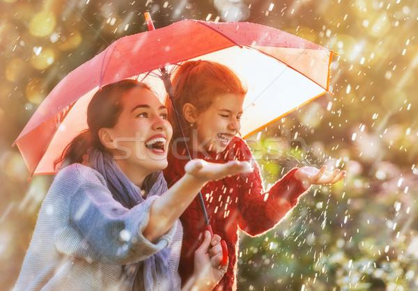 Aile kırmızı şemsiye mutlu komik sonbahar Stok fotoğraf © choreograph