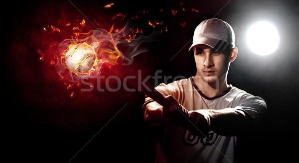 Jucator de baseball bat stadion om sportiv artă Imagine de stoc © choreograph