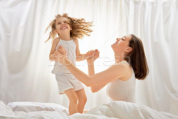 Foto stock: Família · feliz · feliz · mãe · criança · mulher