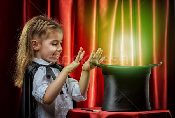 Bűvész kicsi mosoly boldog gyermek gyerek Stock fotó © choreograph